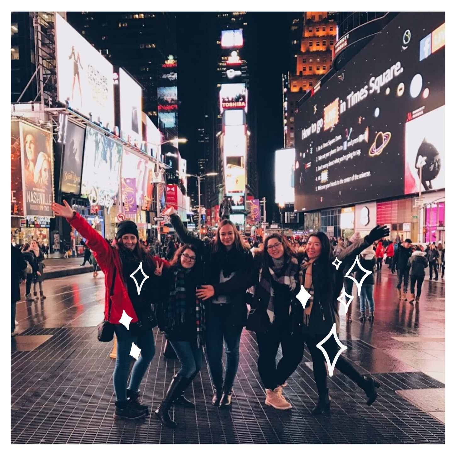 au pairs from academy at new york city times square