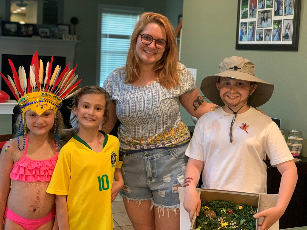 brazilian au pair and host children cultural exchange at home