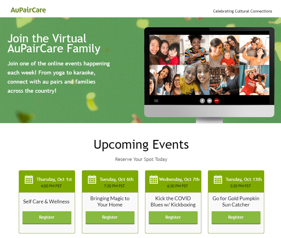AuPairCare Celebrating Cultural Connections Virtual Events Program