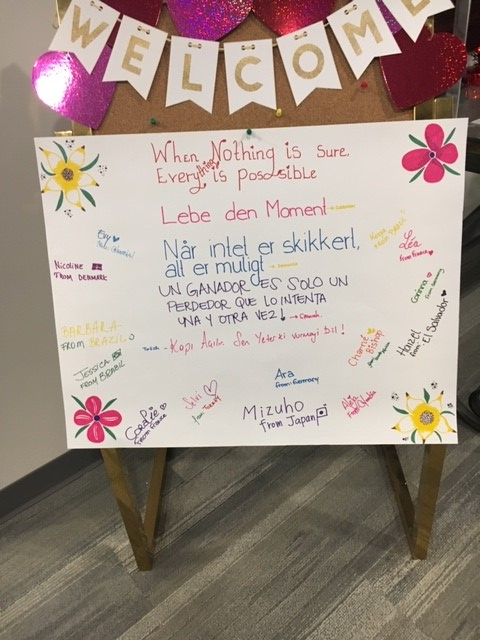 Homemade signs from au pairs to hospital patients