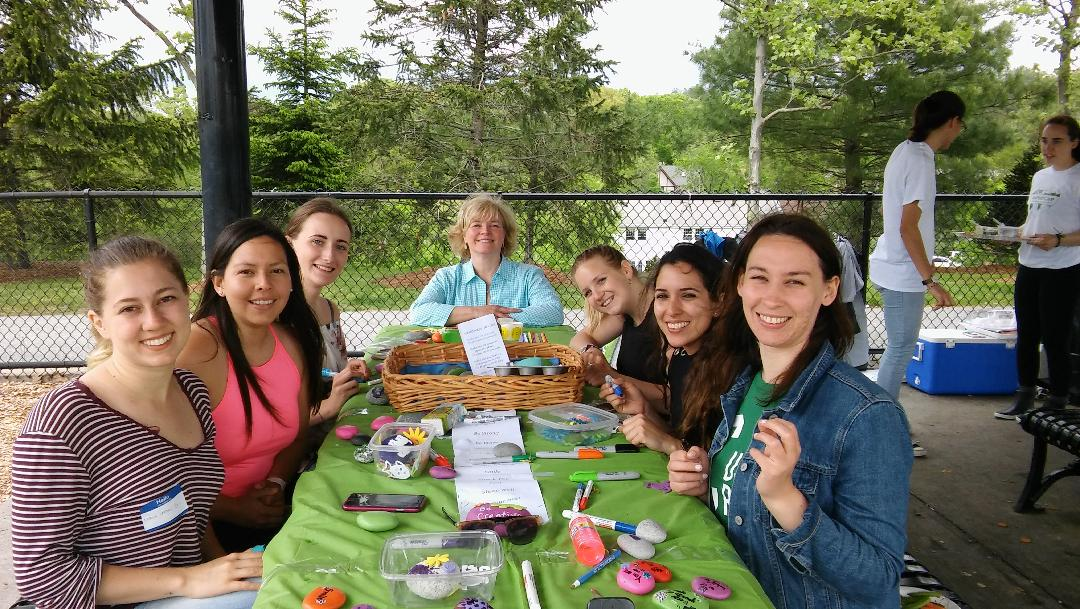 au pairs with their area director crafting kindness rocks