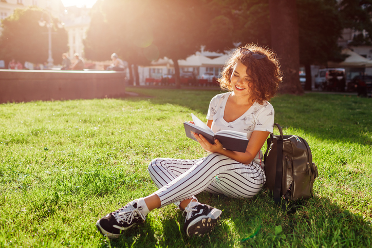 read outside to de-stress and to get some fresh air