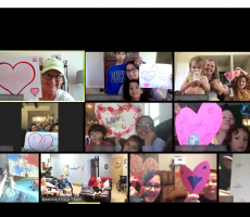 Au pairs and host families video chat with senior citizen home in Texas
